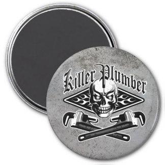 Plumber Skull: Killer Plumber 3.1 3 Inch Round Magnet