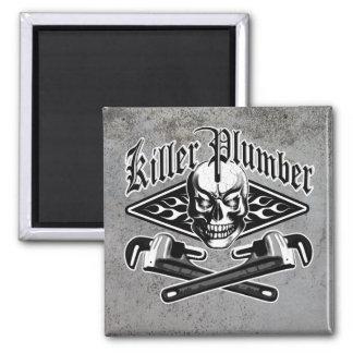 Plumber Skull: Killer Plumber 3.1 2 Inch Square Magnet