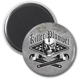 Plumber Skull: Killer Plumber 3.1 2 Inch Round Magnet