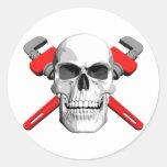 Plumber Skull Round Sticker