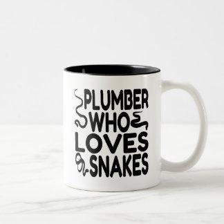 Plumber Who Loves Snakes Two-Tone Mug