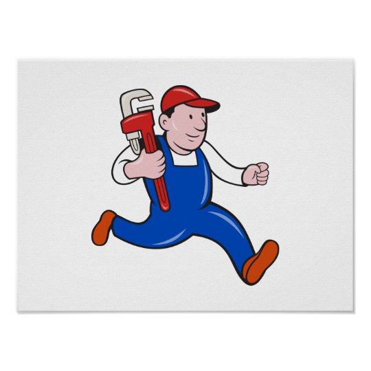 Plumber With Monkey Wrench Cartoon Poster