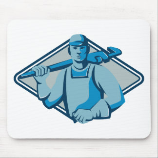 plumber with monkey wrench retro mouse pad