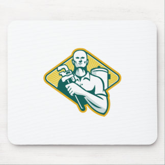 Plumber with Wrench and Hot Water Cylinder Retro Mouse Pad