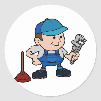plumber with wrench round sticker