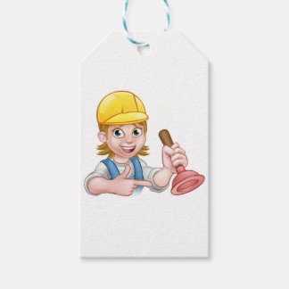 Plumber Woman Holding Plunger