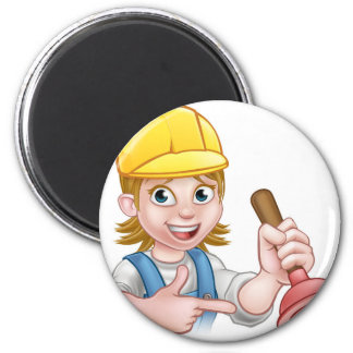 Plumber Woman Holding Plunger 6 Cm Round Magnet