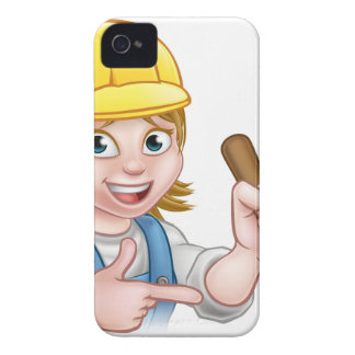 Plumber Woman Holding Plunger iPhone 4 Case-Mate Case