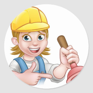 Plumber Woman Holding Plunger Round Sticker