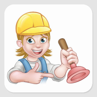Plumber Woman Holding Plunger Square Sticker