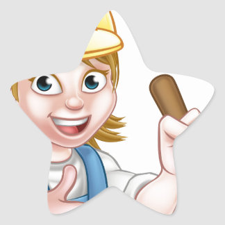 Plumber Woman Holding Plunger Star Sticker