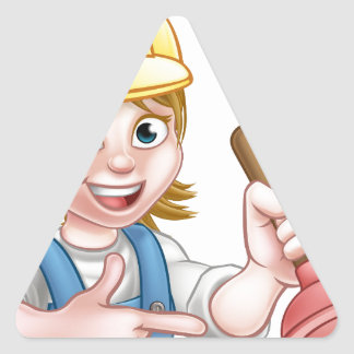 Plumber Woman Holding Plunger Triangle Sticker