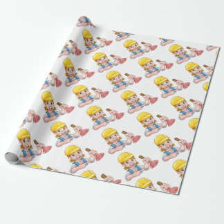 Plumber Woman Holding Plunger Wrapping Paper