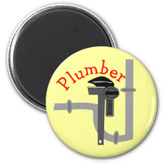 Plumbers gifts 6 cm round magnet