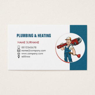 Plumbing and heating. Business card for handyman