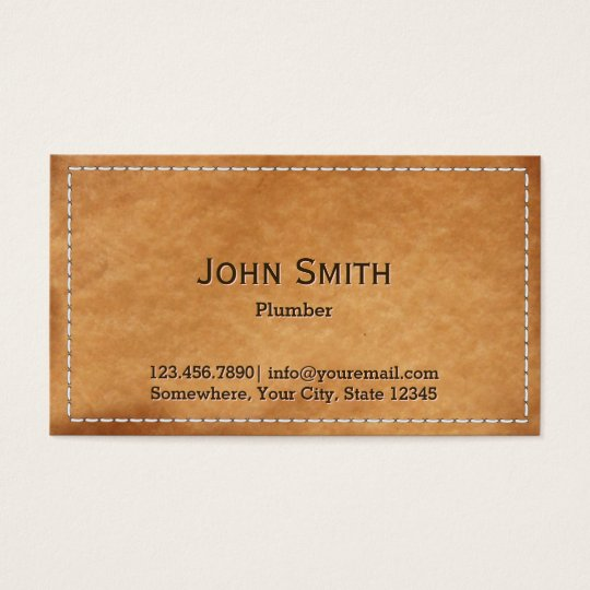 Plumbing Service Vintage Stitched Leather Business Card