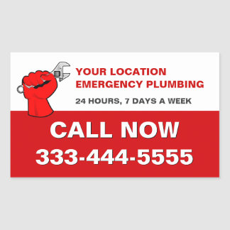 PLUMBING SERVICES & LOCAL EMERGENCY PLUMBERS RECTANGULAR STICKER