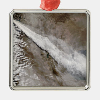 Plume from eruption of Chaiten volcano, Chile Silver-Colored Square Decoration