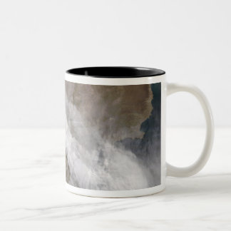 Plume from eruption of Chaiten volcano, Chile Two-Tone Coffee Mug
