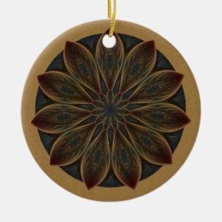 Plumed Petals Kaleidoscope Mandala Christmas Ornament