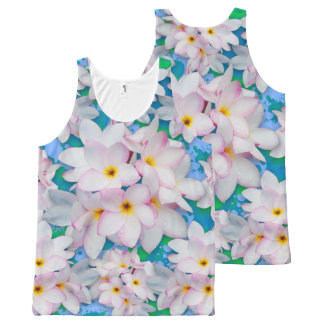 Plumeria Bouquet Exotic Summer Pattern All-Over Print Tank Top