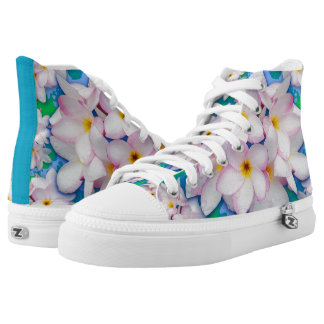 Plumeria Bouquet Exotic Summer Pattern High Tops