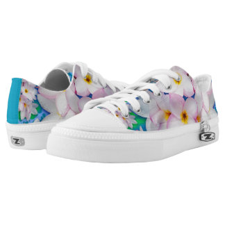 Plumeria Bouquet Exotic Summer Pattern Low Tops