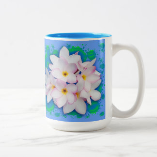 Plumeria Bouquet Exotic Summer Pattern Two-Tone Coffee Mug