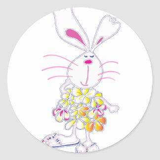 Plumeria Bunny Classic Round Sticker