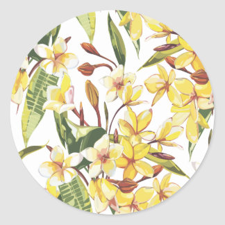 Plumeria Classic Round Sticker
