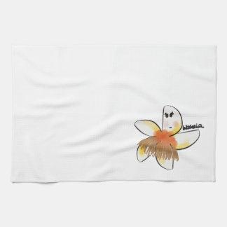 Plumeria dancing hula tea towel