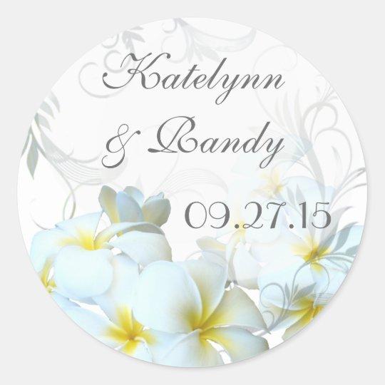 Plumeria Flourish Round Wedding Sticker
