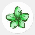 Plumeria Flower Hawaii Style Classic Round Sticker