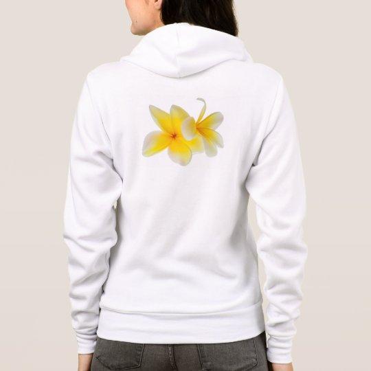 Plumeria Flowers Hawaiian White Yellow Frangipani Hoodie
