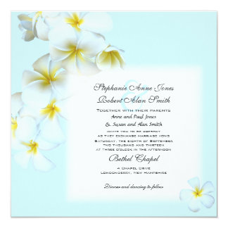 Plumeria Flowers Square Wedding Invitation