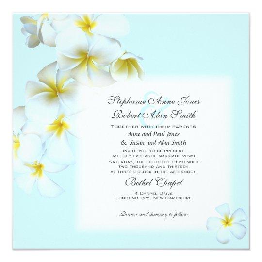 Plumeria Flowers Square Wedding Invitation