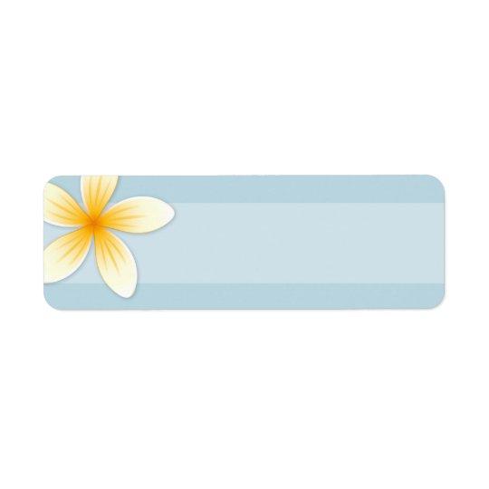 Plumeria Frangipani flower on pale sky blue blank Return Address Label