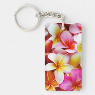 Plumeria Frangipani Hawaii Flower Customized Double-Sided Rectangular Acrylic Key Ring