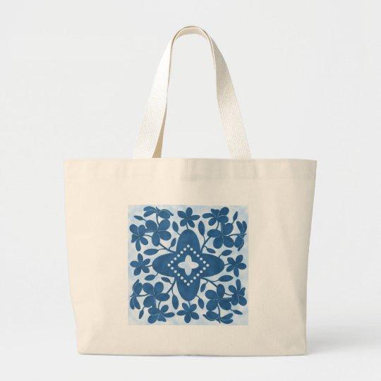 Plumeria Hawaiian Quilt Block Large Tote Bag