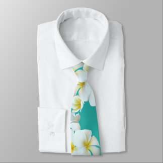 Plumeria Lagoon Blue-Green Hawaiian Flowers Tie