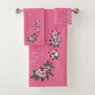 Plumeria on Pink with your Monogram Bath Towel Set