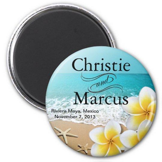 Plumeria Starfish Beach Tropical Favour 6 Cm Round Magnet