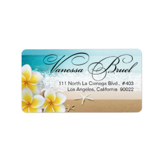 Plumeria Starfish Beach Tropical Wedding Hawaii Address Label