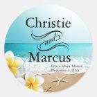 Plumeria Starfish Hawaii Beach Classic Round Sticker