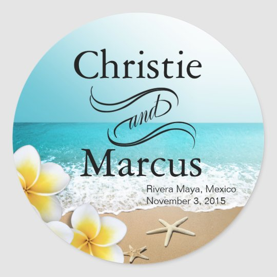 Plumeria Starfish Hawaii Beach Classic Round Sticker