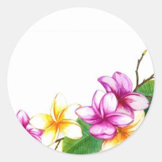 Plumeria sticker, Tropical theme flowers Round Sticker