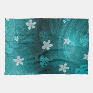 Plumeria turqouise tropical print tea towel