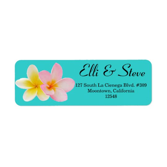 Plumeria Wedding Address Label