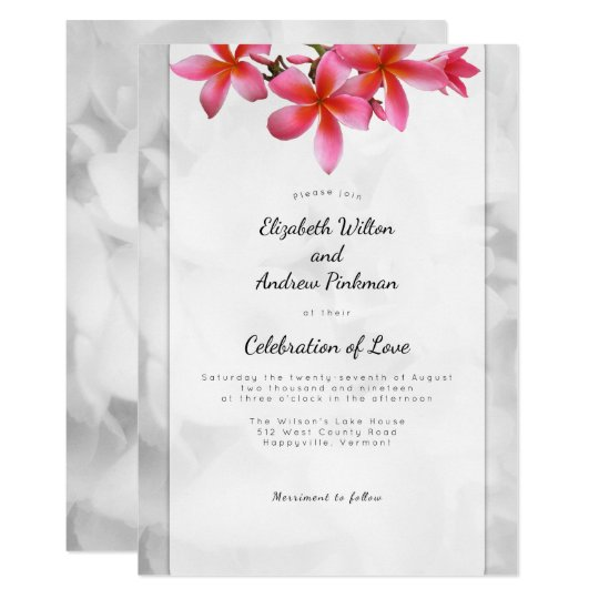 Plumeria Wedding Celebration of Love Invitation