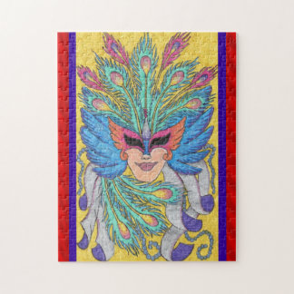 Plumes and Ribbons Mardi Gras Mask Jigsaw Puzzle